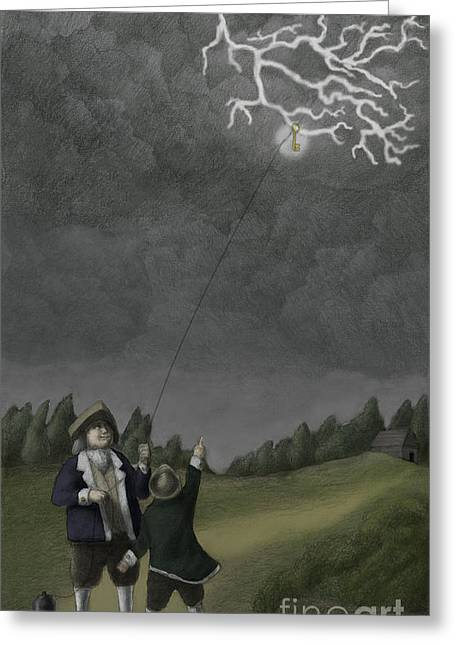 Spokesman Greeting Cards - Ben Franklin Kite And Key Experiment Greeting Card by Spencer Sutton