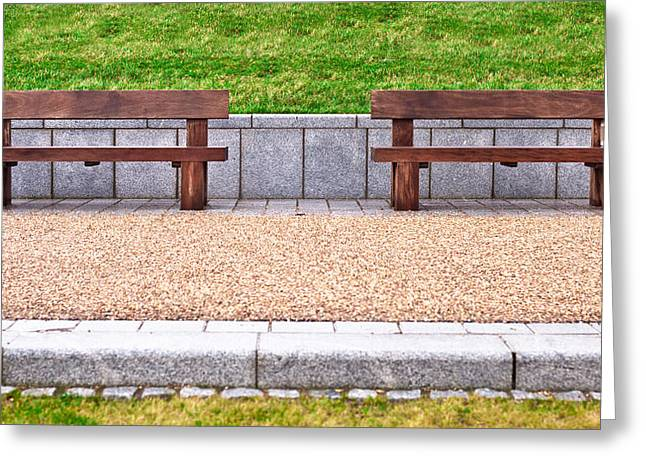 Wood Bench Greeting Cards - Benches Greeting Card by Tom Gowanlock