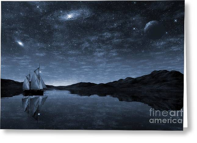 Clippers Digital Art Greeting Cards - Beneath a jewelled sky Greeting Card by John Edwards