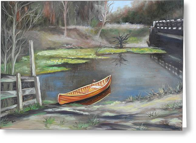Canoe Paintings Greeting Cards - Beneath the Bridge Greeting Card by Eve  Wheeler