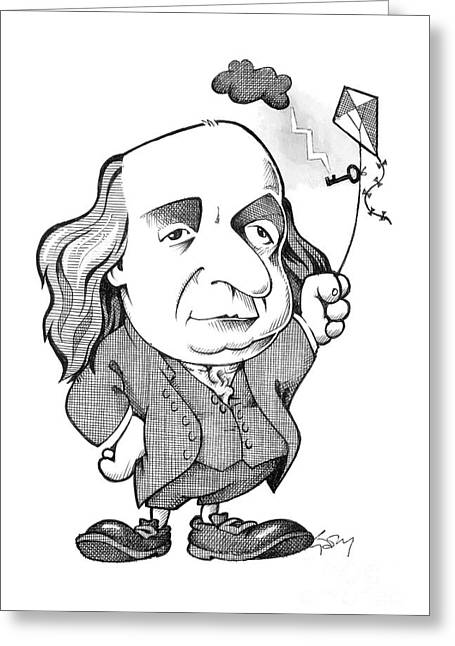 Signatories Greeting Cards - Benjamin Franklin caricature Greeting Card by Science Photo Library