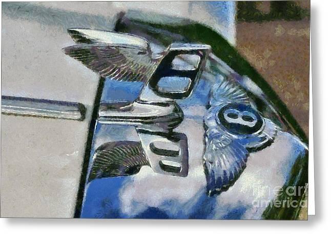Vintage Hood Ornament Paintings Greeting Cards - 1975 Bentley T Series Greeting Card by George Atsametakis