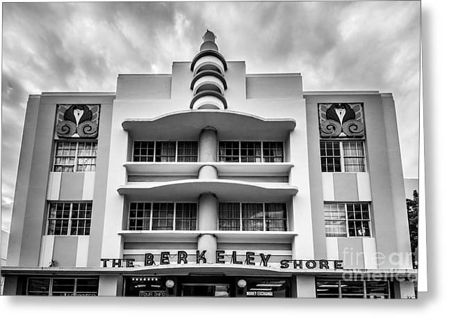 2013 Greeting Cards - Berkeley Shores Hotel  2 - South Beach - Miami - Florida - Black and White Greeting Card by Ian Monk