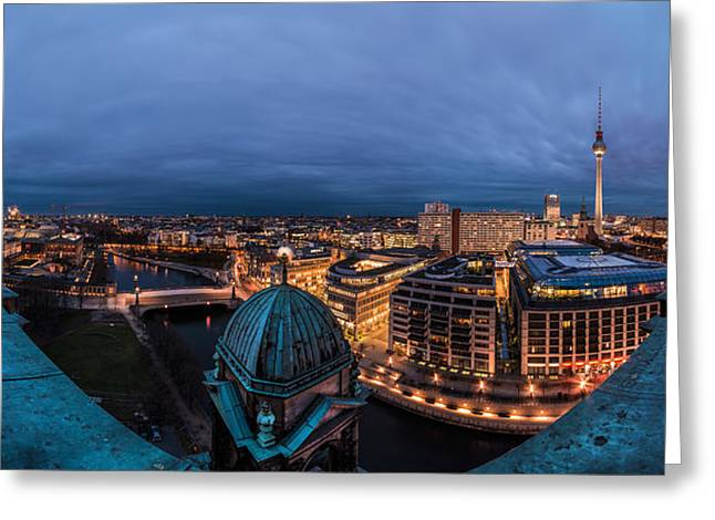 Deutschland Pyrography Greeting Cards - Berlin - Cathedral Skyline View Greeting Card by Jean Claude Castor