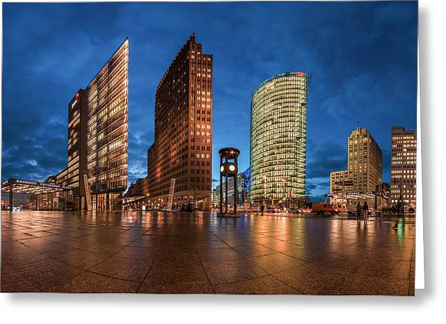 Himmel Pyrography Greeting Cards - Berlin - Potsdamer Platz Blue Hour Greeting Card by Jean Claude Castor