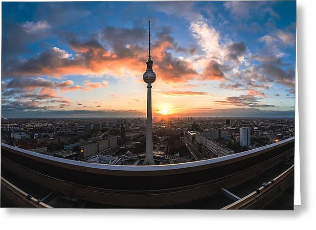 Himmel Pyrography Greeting Cards - Berlin - TV Tower Skyline Panorama Greeting Card by Jean Claude Castor