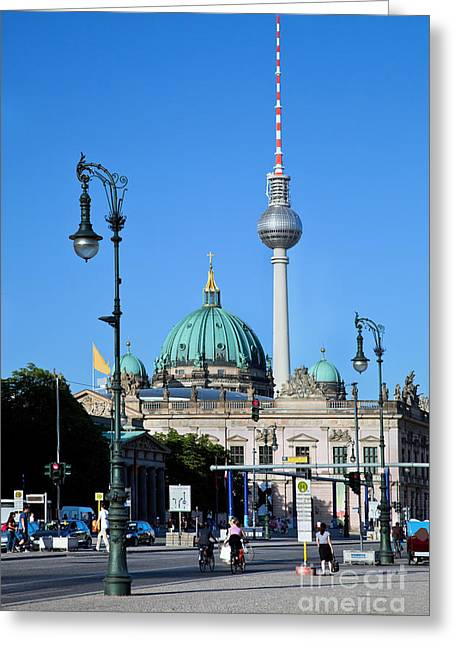 Berlin Cathedral Greeting Cards - Berlin Cathedral and TV Tower Greeting Card by Michal Bednarek