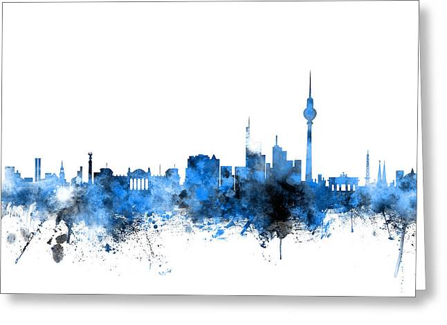 Berlin Germany Greeting Cards - Berlin Germany Skyline Greeting Card by Michael Tompsett