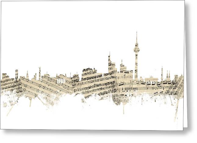 Berlin Germany Skyline Sheet Music Cityscape Greeting Card by Michael Tompsett