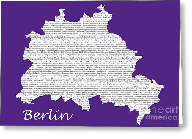 Art Photography Greeting Cards - Berlin Map Typgraphy Greeting Card by Art Photography