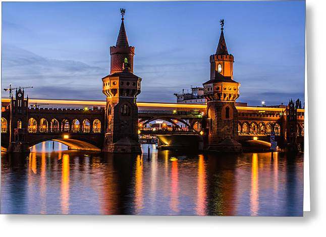 Streetlight Pyrography Greeting Cards - Berlin Oberbaum Bridge Greeting Card by Jean Claude Castor