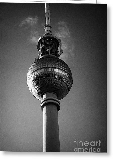 Berlin Germany Greeting Cards - berliner fernsehturm Berlin TV tower symbol of east berlin Germany Greeting Card by Joe Fox