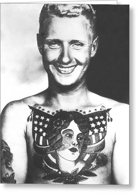 Recently Sold -  - Tattoo Flash Greeting Cards - Bert Grimm Vintage Tattoo Flash Art Greeting Card by Larry Mora
