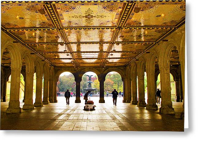 Bethesda Fountain Greeting Cards - Bethesda Terrace   Greeting Card by Jessica Jenney