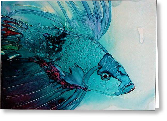 Betta Paintings Greeting Cards - Betta Dragon Fish Greeting Card by Marcia Breznay