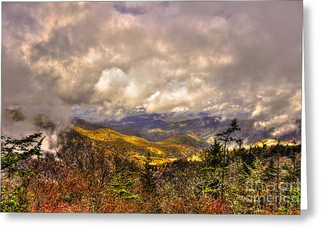 White Knob Mountains Greeting Cards - Between The Clouds Blue Ridge Parkway North Carolina Greeting Card by Reid Callaway