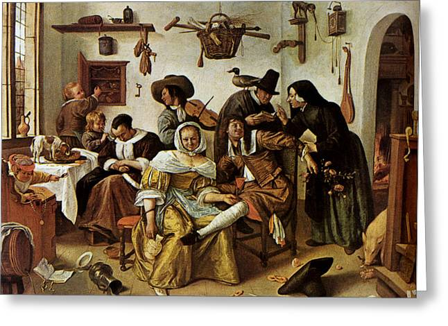 Images Of Woman Greeting Cards - Beware Of Luxury Greeting Card by Jan Steen