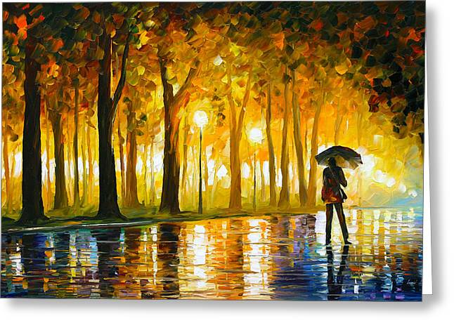 Artist Collection Greeting Cards - Bewitched Park Greeting Card by Leonid Afremov