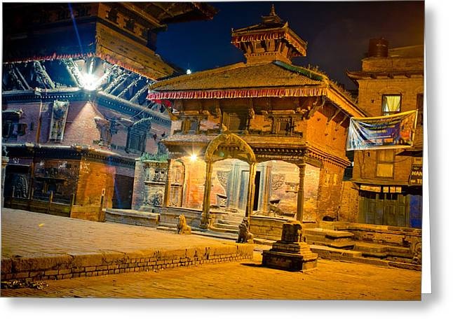 Bhaktapur At Night In Old Town Greeting Card by Raimond Klavins