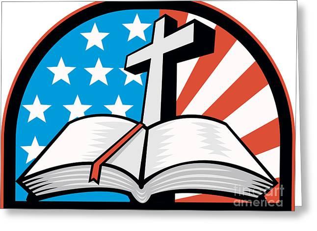 Bible With Cross American Stars Stripes Greeting Card by Aloysius Patrimonio