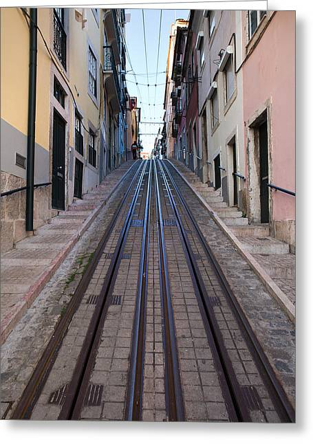 Funicular Greeting Cards - Bica Funicular in Lisbon Greeting Card by Artur Bogacki