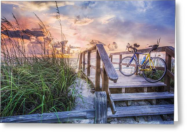 Sanddunes Greeting Cards - Bicycle at the Beach Greeting Card by Debra and Dave Vanderlaan