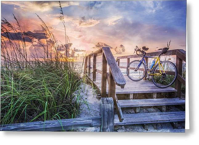 Bicycle at the Beach Greeting Card by Debra and Dave Vanderlaan