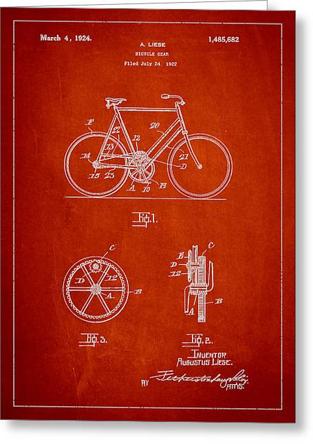 Technical Greeting Cards - Bicycle Gear Patent Drawing from 1922 - Red Greeting Card by Aged Pixel