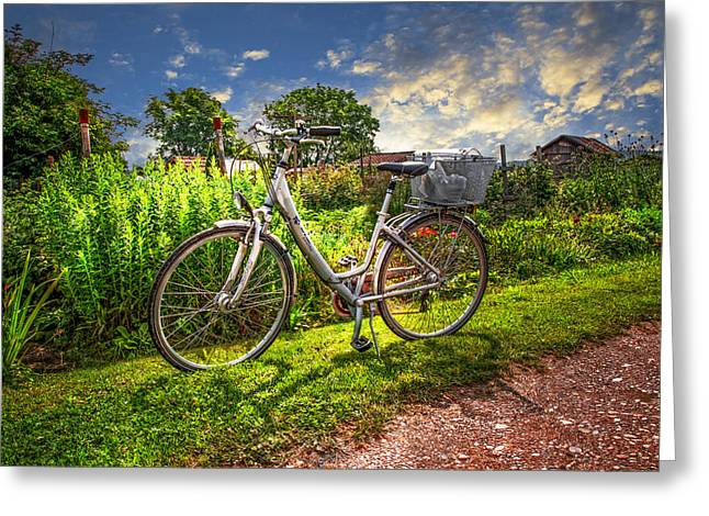 Swiss Photographs Greeting Cards - Bicycle in the Garden Greeting Card by Debra and Dave Vanderlaan