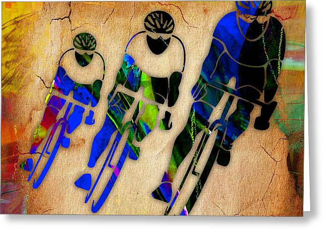 Bike Race Greeting Cards - Bicycle Painting Greeting Card by Marvin Blaine