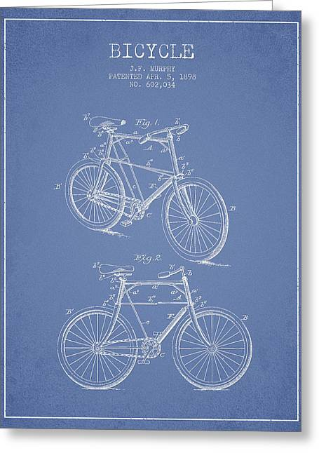 Vintage Bicycle Greeting Cards - Bicycle Patent Drawing From 1898 Greeting Card by Aged Pixel