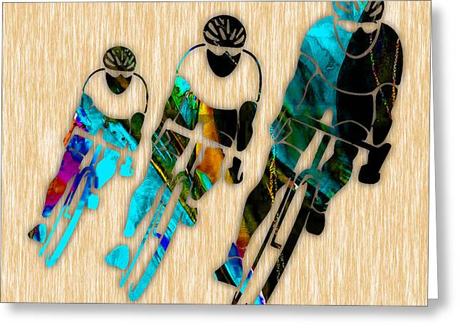 Bicycle Racing Greeting Cards - Bicycle Racing Greeting Card by Marvin Blaine
