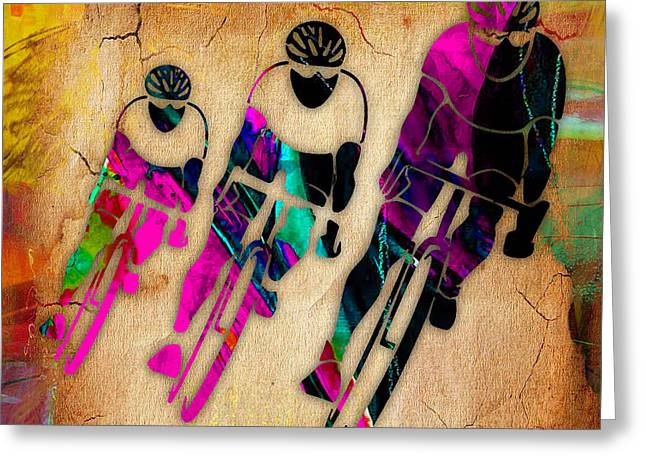 Bike Race Greeting Cards - Bicycling Greeting Card by Marvin Blaine