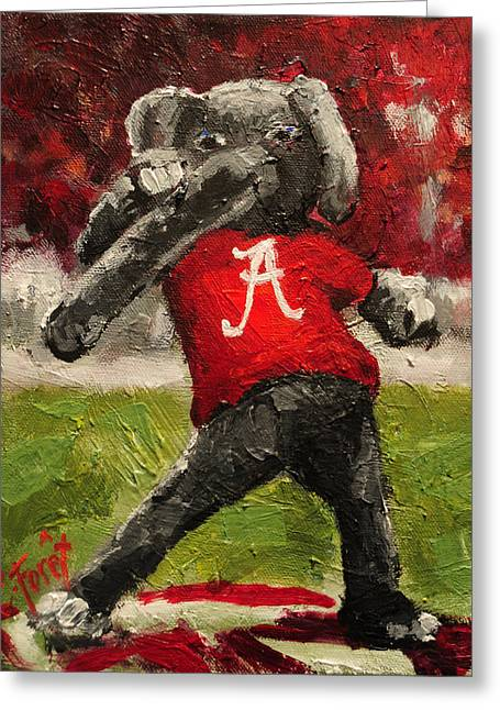Alabama Crimson Tide Greeting Cards - Big Al Greeting Card by Carole Foret