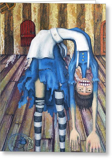 Bent Greeting Cards - Big Alice Little Door Greeting Card by Kelly Jade King