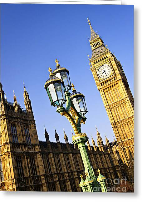 Streetlight Greeting Cards - Big Ben and Palace of Westminster Greeting Card by Elena Elisseeva