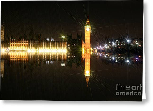 Owner Art Mixed Media Greeting Cards - Big Ben and The Houses of Parliament On The Thames Greeting Card by Michael Braham