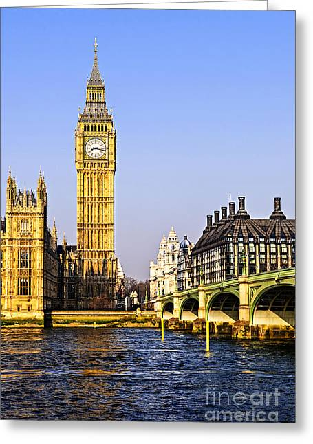Clock Greeting Cards - Big Ben and Westminster bridge Greeting Card by Elena Elisseeva