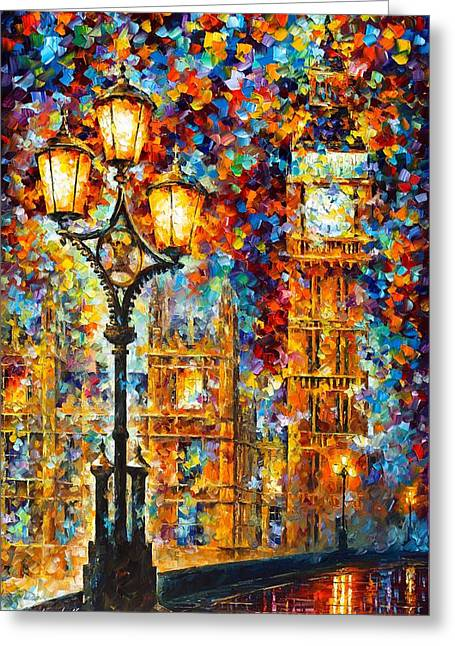 Recently Sold -  - Unique Art Greeting Cards - Big Ben Greeting Card by Leonid Afremov