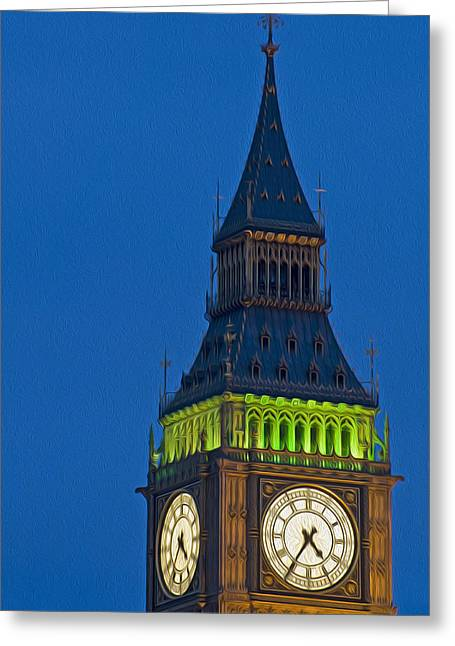Kate Middleton Photographs Greeting Cards - Big Ben Parliament Wesminster London digital painting Greeting Card by Matthew Gibson