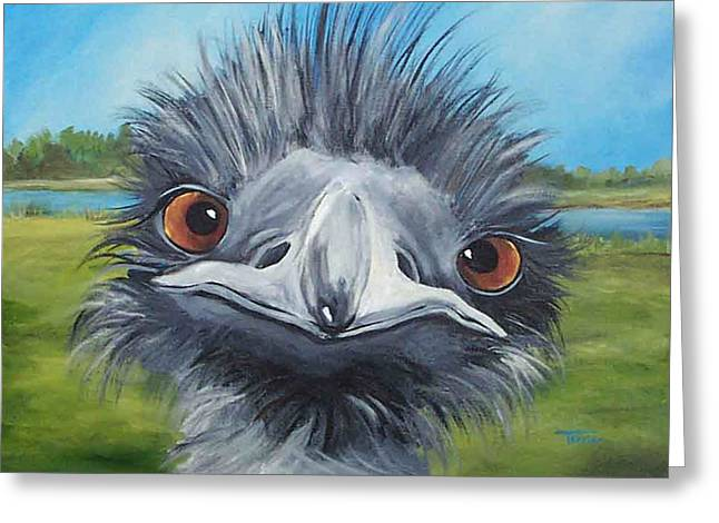 Ostrich Feathers Greeting Cards - Big Bird - 2007 Greeting Card by Torrie Smiley