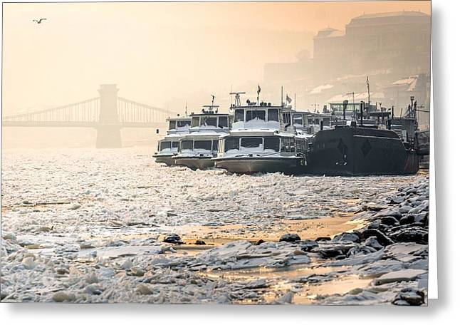 Famous Bridge Pyrography Greeting Cards - Big boats stuck in the ice at winter Greeting Card by Oliver Sved