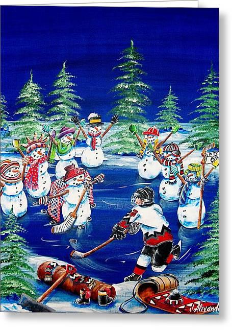 Hockey Paintings Greeting Cards - Big Boy Dreams Greeting Card by Jill Alexander