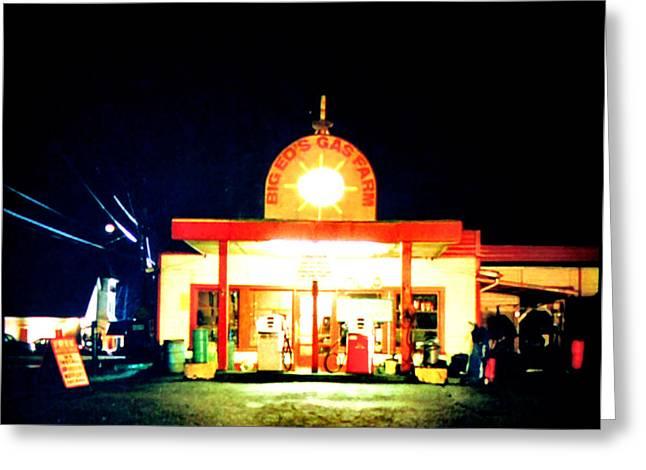 Black Lodge Greeting Cards - Big Eds Gas Farm Greeting Card by Luis Ludzska