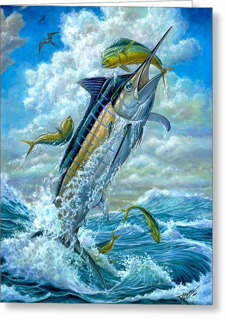 Marlin Greeting Cards - Big Jump Blue Marlin With Mahi Mahi Greeting Card by Terry  Fox