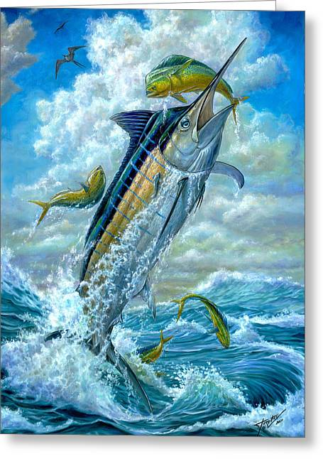 Terry Greeting Cards - Big Jump Blue Marlin With Mahi Mahi Greeting Card by Terry  Fox