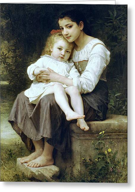 Baby Sister Greeting Cards - Big Sister Greeting Card by William Bouguereau