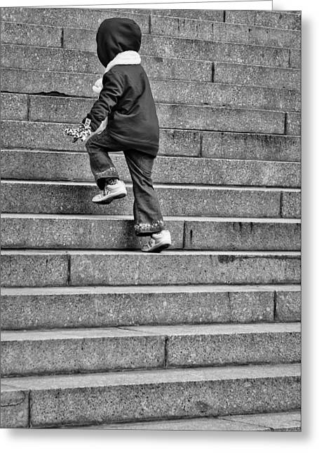 White Photographs Greeting Cards - Big Steps for Little Feet Greeting Card by Paul Donohoe