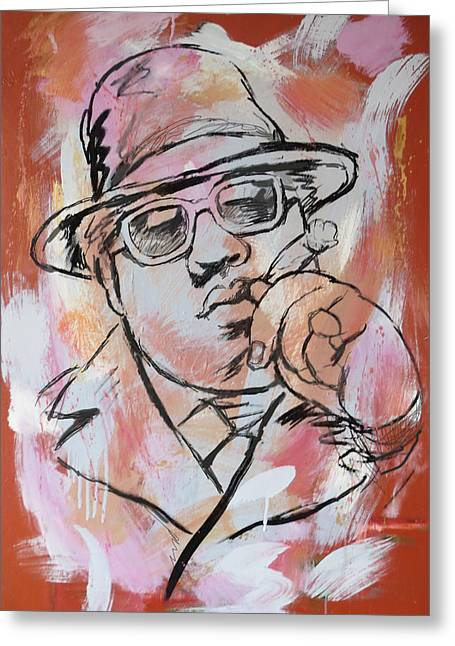 Best Known As The Notorious B.i.g. Greeting Cards - Biggie Smalls art painting poster Greeting Card by Kim Wang