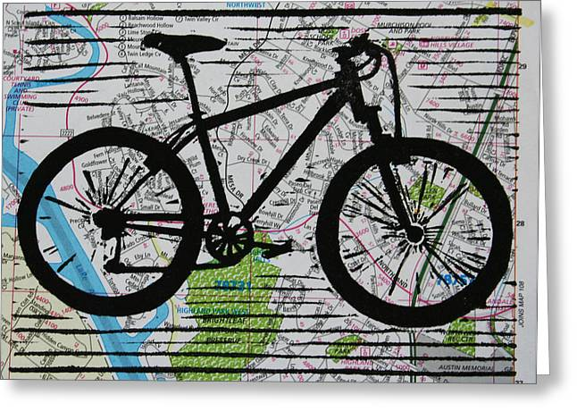 Recently Sold -  - Lino Greeting Cards - Bike 10 Greeting Card by William Cauthern